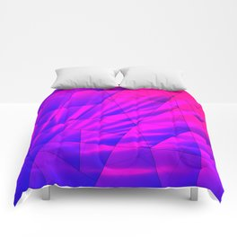 Bright fragments of crystals on irregularly shaped blue and violet triangles. Comforters