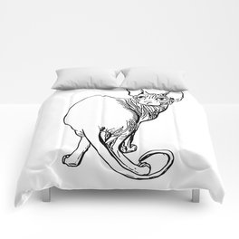 Sphynx Cat Illustration - Sphynx - Cat Drawing - Naked Cat - Wrinkly Cat - Black and White Comforters