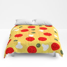 Cool fun pizza pepperoni mushroom Comforters