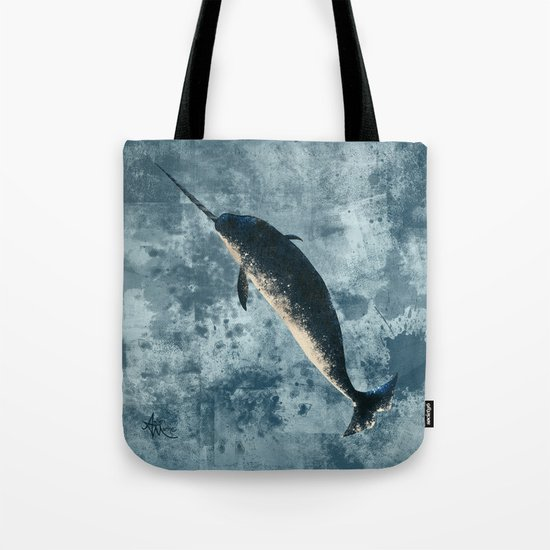 Jackson the Narwhal ~ Art by Amber Marine Tote Bag
