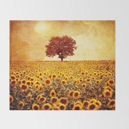 lone tree & sunflowers field Throw Blanket
