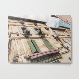 French Cafe | Colorful Pizzeria Creperie Restaurant Red Awning Old Building Architecture Metal Print