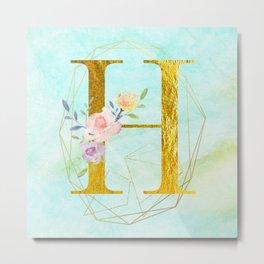 Gold Foil Alphabet Letter H Initials Monogram Frame with a Gold Geometric Wreath Metal Print