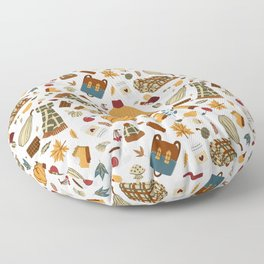Festive and Seasonal Fall Pattern with Autumn Essentials Floor Pillow