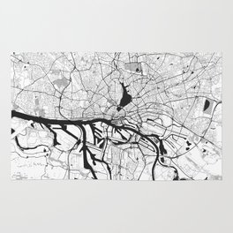 Hamburg City Map Gray Rug