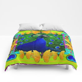 Chartreuse Wildlife Art Blue Peacock & Yellow Butterflies Art Comforters
