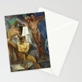Young Bathers by George Pauli Nude Male Art Stationery Cards