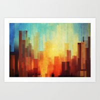 colour Art Prints featuring Urban sunset by SensualPatterns