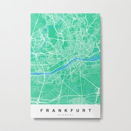 Frankfurt Map | Germany | Green & Blue | More Colors, Review My Collections Metal Print