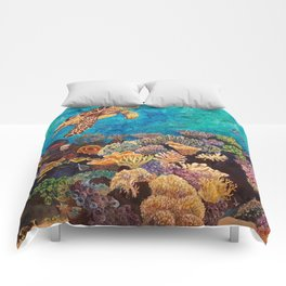 A Look around - Sea turtle in the reef Comforters
