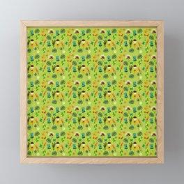 Earth Day Flowers (Green) Framed Mini Art Print