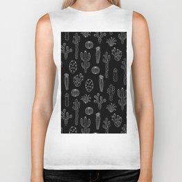 Cactus Silhouette White And Black Biker Tank