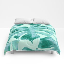 Tropical Monstera Leaves Dream #4 #tropical #decor #art #society6 Comforters