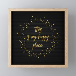 Text Art THIS IS MY HAPPY PLACE III | black with hearts, stars & splashes Framed Mini Art Print