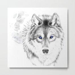 WOLF WHITE Metal Print