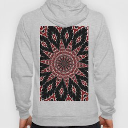 Black Red and White Bold Floral Kaleidoscope Hoody