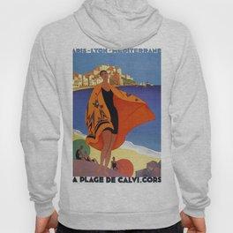 Vintage poster - La Plage de Calvi, La Corse, France Hoody