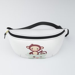 Cute Kawai pink cup with brown monkey Fanny Pack