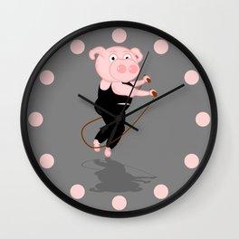 Pig Skipping Wall Clock