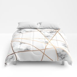 White, Gray, Gold Marble Geometric Pattern Comforters