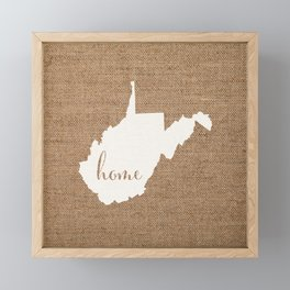 West Virginia is Home - White on Burlap Framed Mini Art Print