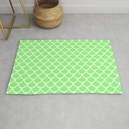 Scales (White & Light Green Pattern) Rug