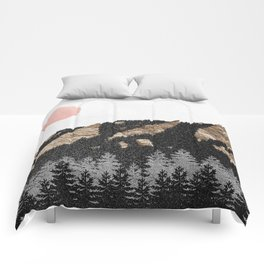 Black x Gold Flatirons // Chautauqua Park Boulder, Colorado Abstract Landscape College Wall Decor Comforters