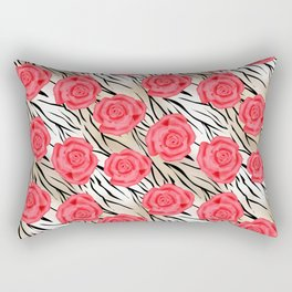 Red roses on a light tiger background . Rectangular Pillow