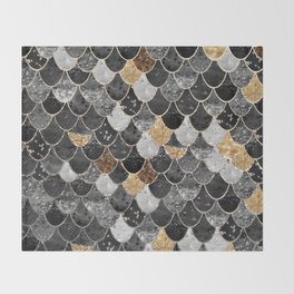 REALLY MERMAID BLACK GOLD Throw Blanket