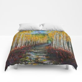 Nelly Creek painting of Uncompahgre National Forest Comforters