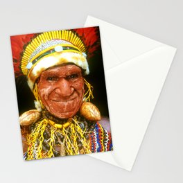 Papua New Guinea Elder In Handmade Sing Sing Attire Stationery Cards