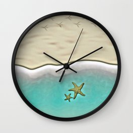 SANDY BEACH & STARFISH Wall Clock
