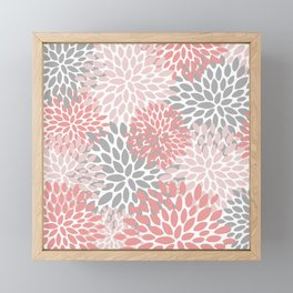 Floral Pattern, Coral Pink and Gray Framed Mini Art Print
