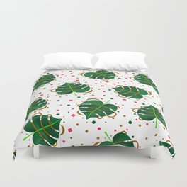 Monstera Leaves with Gold Pink and Green Geometric Confetti Duvet Cover