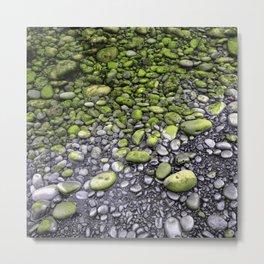 Green & Gray Pebbles Metal Print