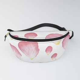 A Family of Pink English Rose Petals Fanny Pack