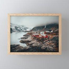Foggy Coastal Town Seascape Framed Mini Art Print