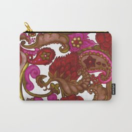 Outrageous Hand Drawn Floral Bohemian Red Paisley Carry-All Pouch