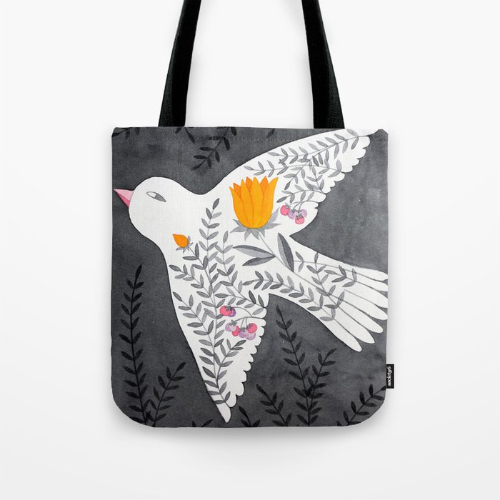 floral bird on grey illustration Tote Bag