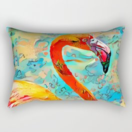 Painted Flamingo Rectangular Pillow