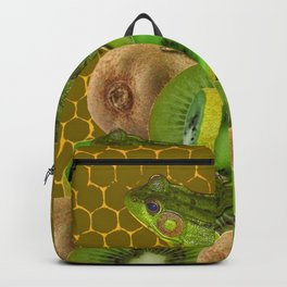 3 GREEN FROGS & KIWI FRUIT PATTERNED GREEN-GOLD ART FROM Backpack