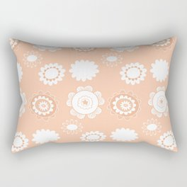 Peach Floral Pattern Rectangular Pillow