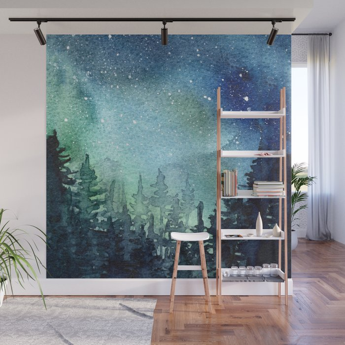 Galaxy Watercolor Aurora Borealis Painting Wall Mural