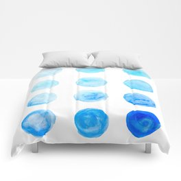 Calming Blue Watercolor Circles Comforters