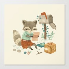 Raccoon Post Canvas Print