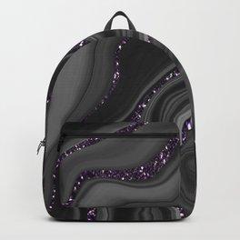Liquid Black Gray White Agate Glitter Dream #1 #gem #decor #art #society6 Backpack