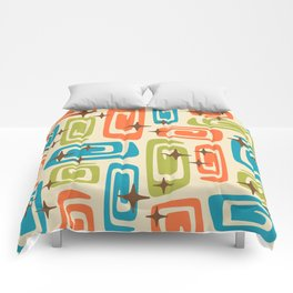 Mid Century Modern Cosmic Galaxies 726 Orange Turquoise and Chartreuse Comforters