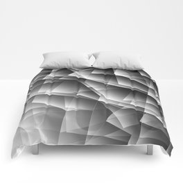 Exclusive monochrome pattern of chaotic black and white shards of glass, paper and ice floes. Comforters