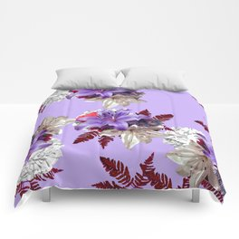 LILY PURPLE LILIES AND WHITE HYDRANGEAS Comforters