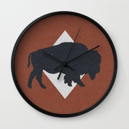 Bison & Blue Wall Clock